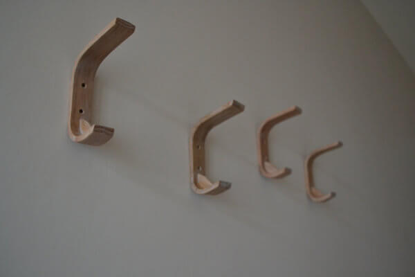 Oak Coat Hooks on Wall